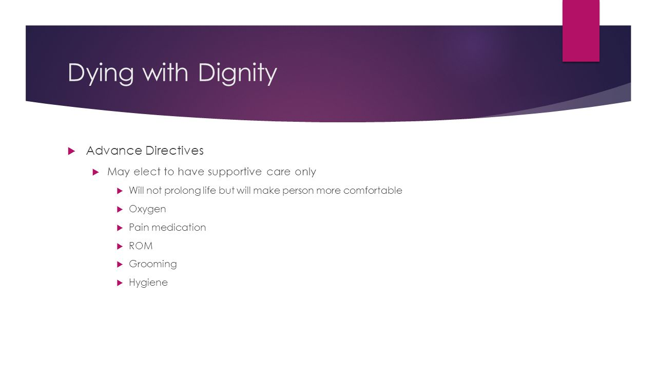 Dying with Dignity Advance Directives
