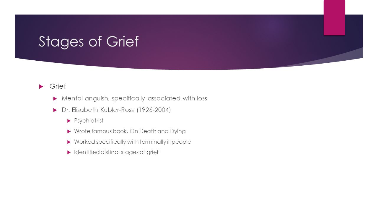 Stages of Grief Grief. Mental anguish, specifically associated with loss. Dr. Elisabeth Kubler-Ross (1926-2004)