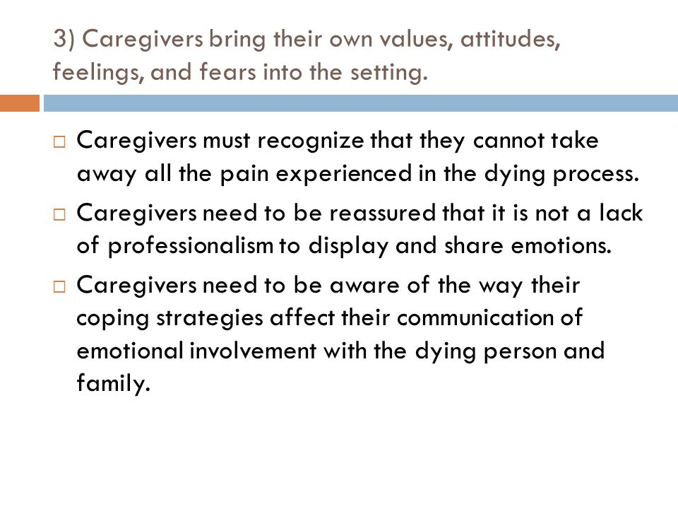 3) Caregivers bring their own values, attitudes, feelings, and fears into the setting.
