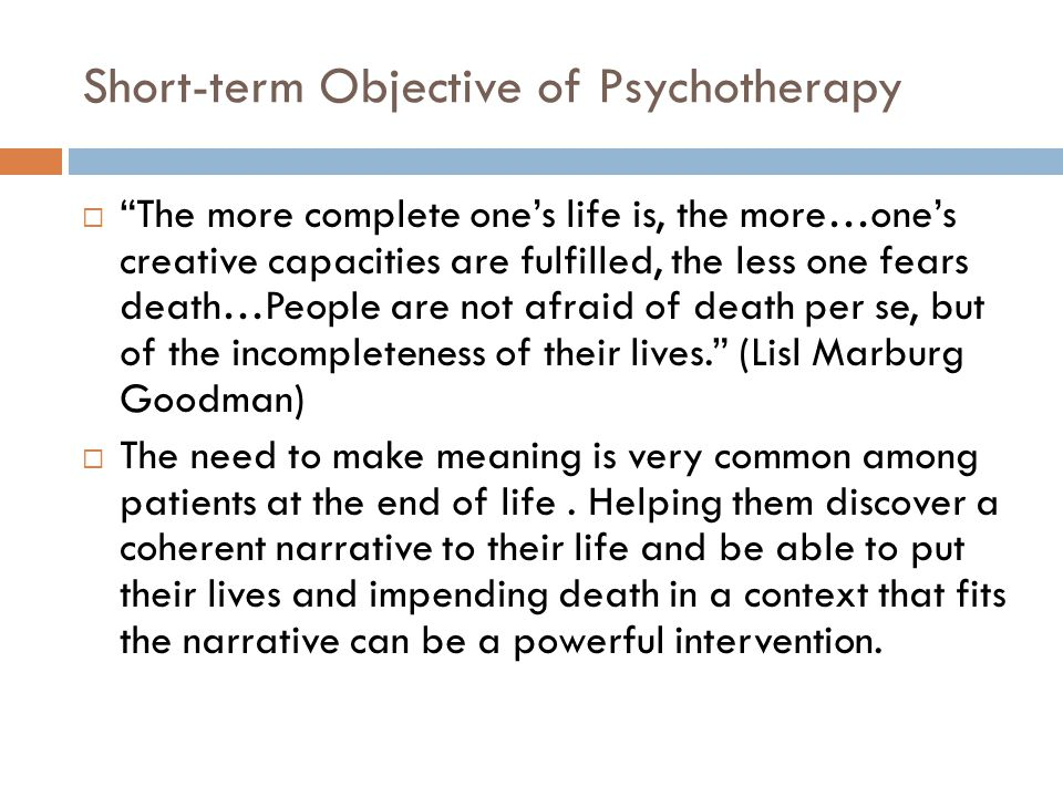 Short-term Objective of Psychotherapy