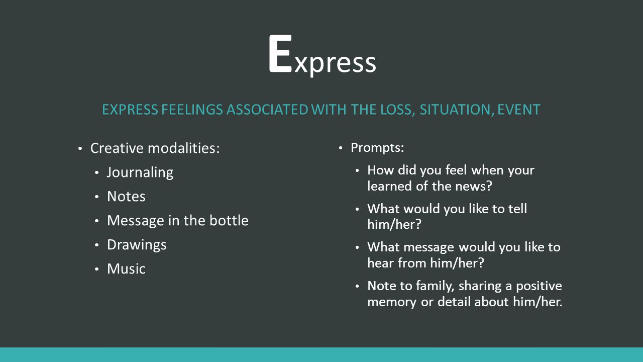 Express feelings associated with the loss, situation, event