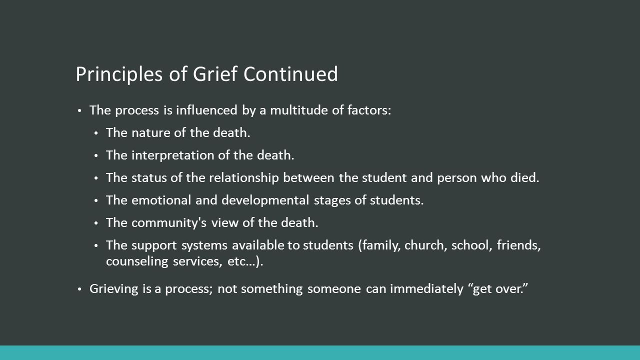 Principles of Grief Continued