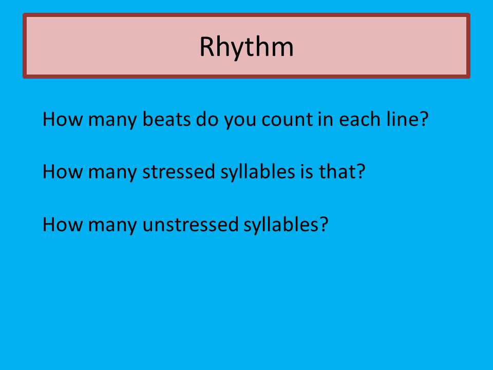 Rhythm How many beats do you count in each line