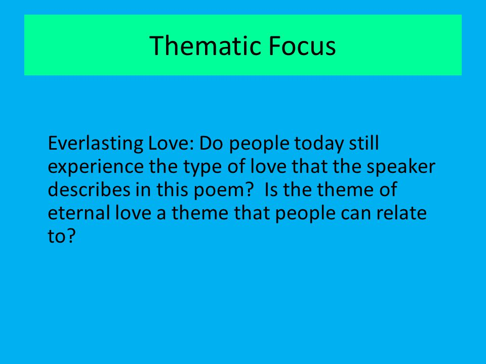 Thematic Focus