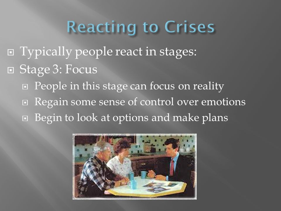 Reacting to Crises Typically people react in stages: Stage 3: Focus