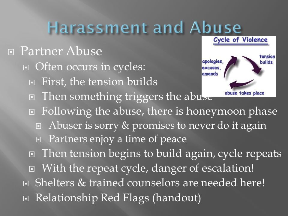 Harassment and Abuse Partner Abuse Often occurs in cycles: