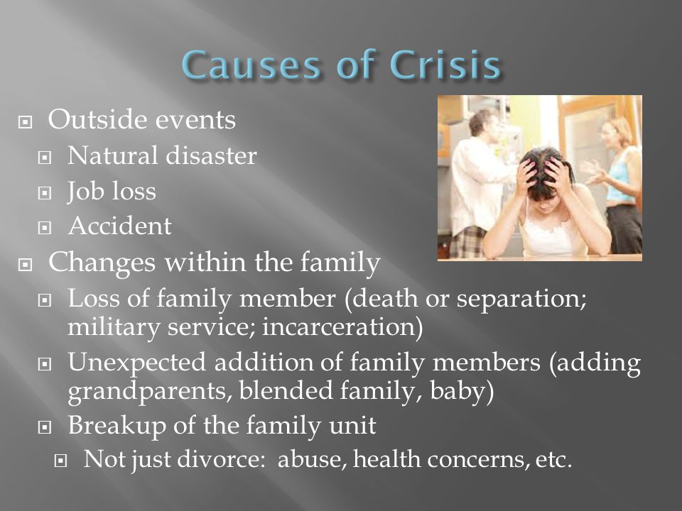 Causes of Crisis Outside events Changes within the family