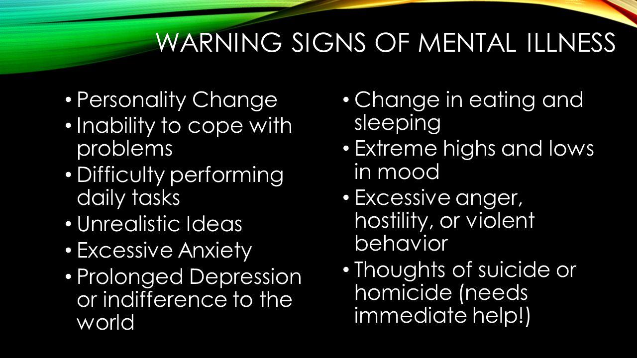 Warning signs of mental illness