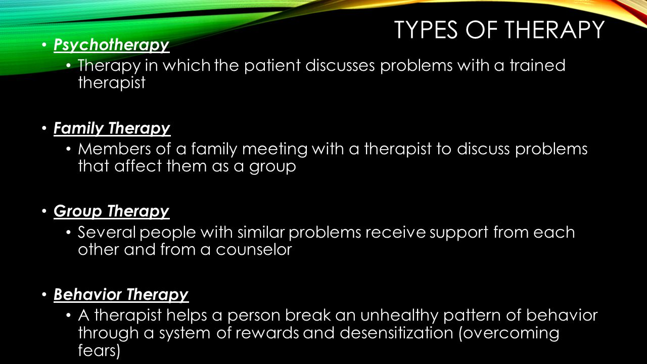 Types of therapy Psychotherapy