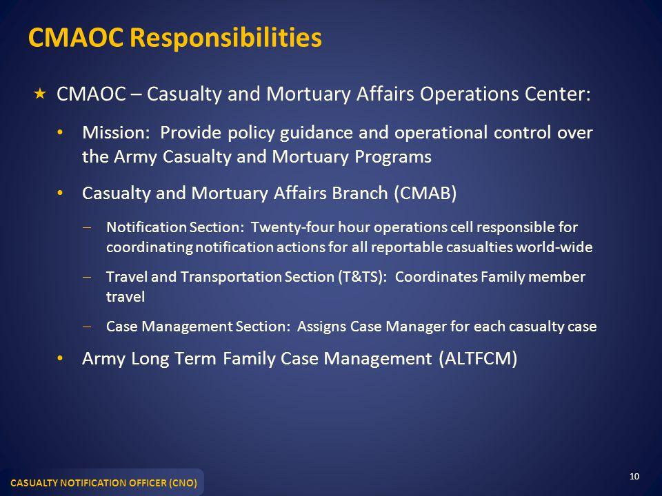CMAOC Responsibilities