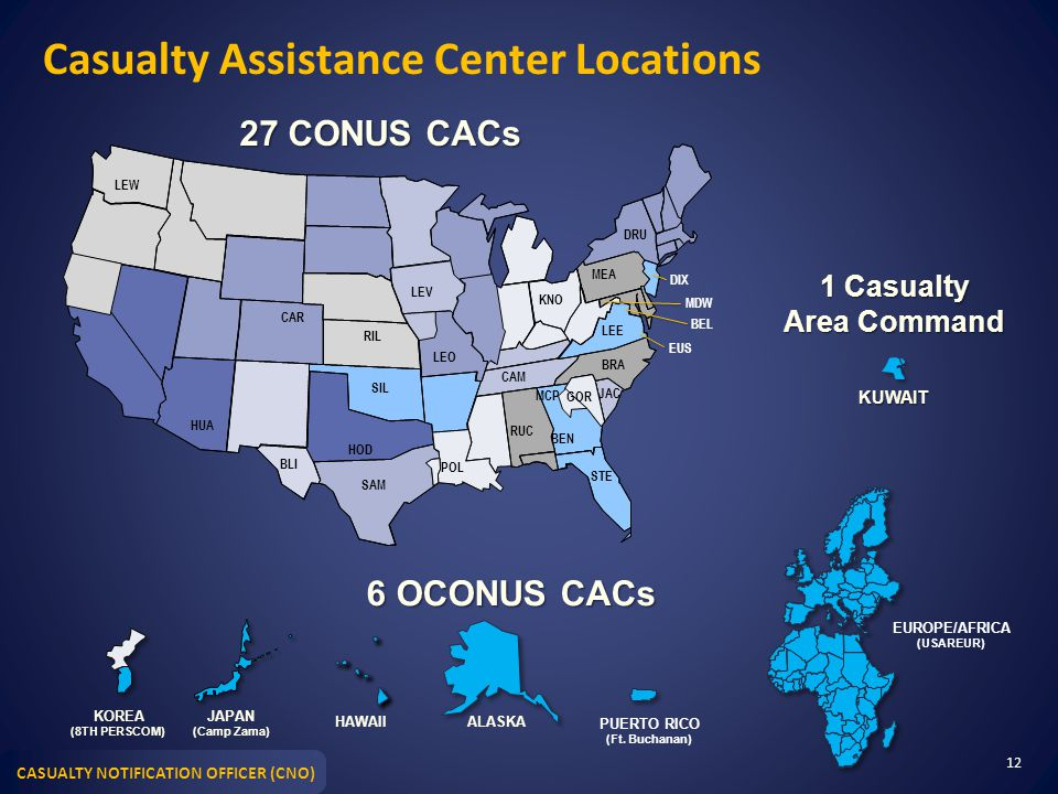 Casualty Assistance Center Locations