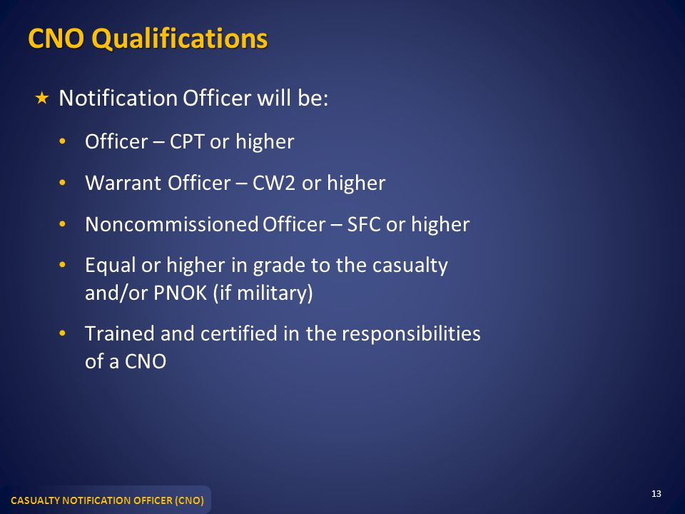 CNO Qualifications Notification Officer will be: