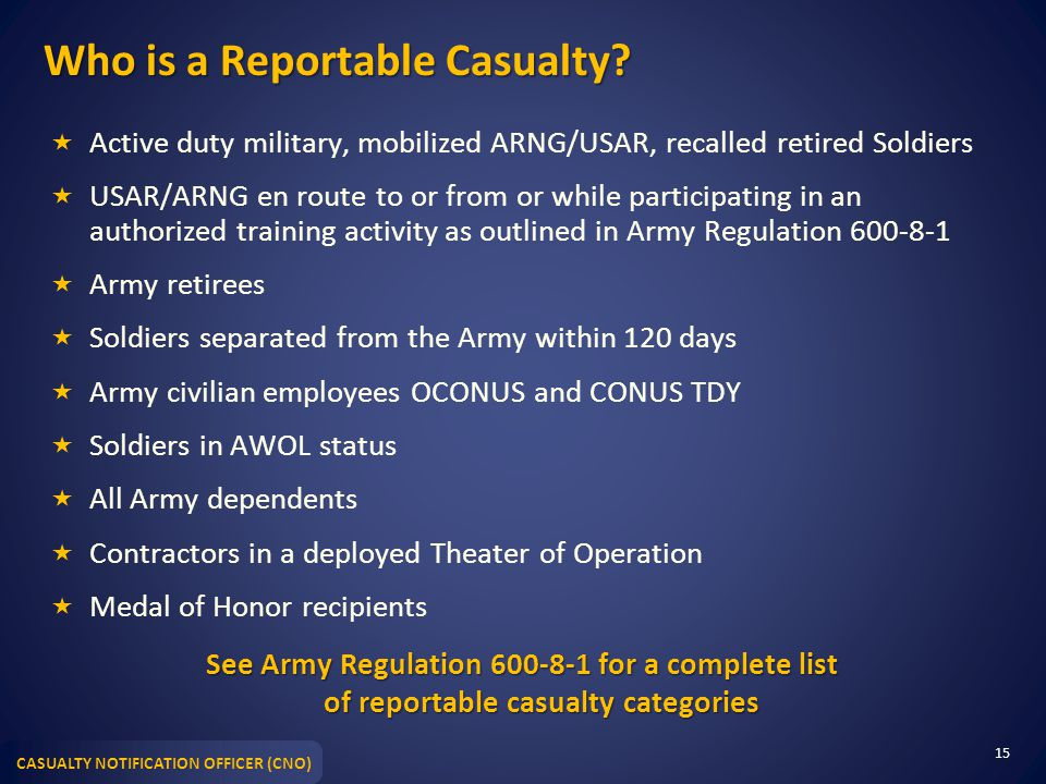 Who is a Reportable Casualty