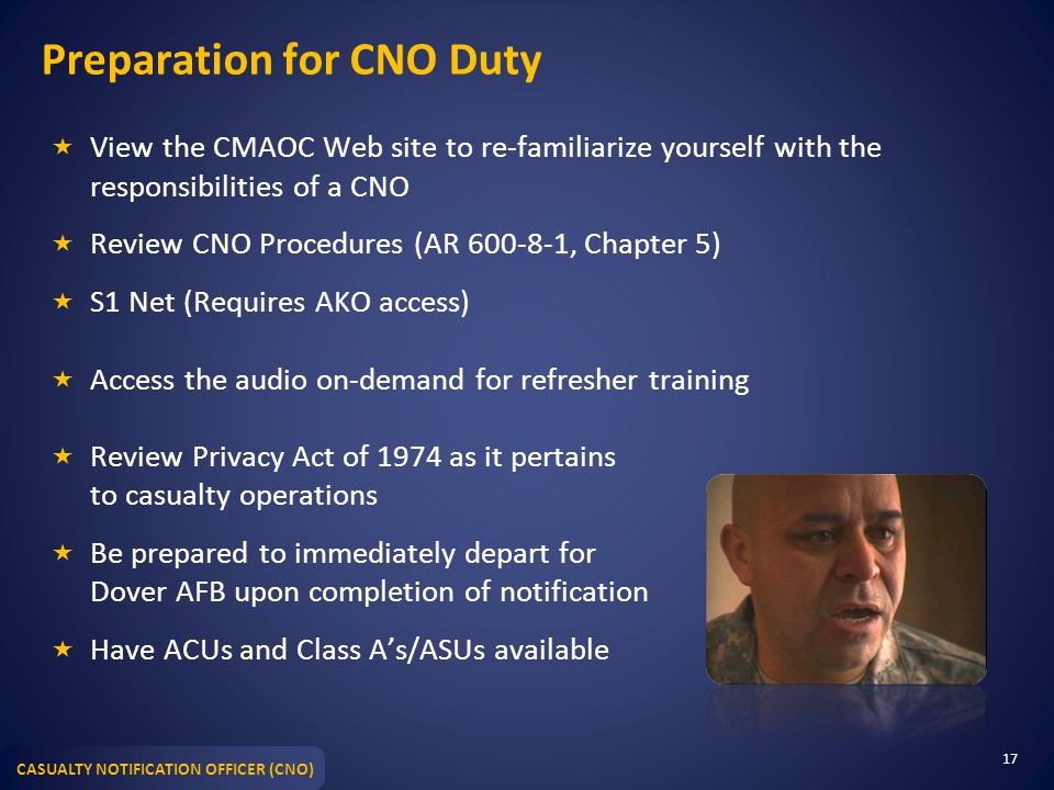Preparation for CNO Duty