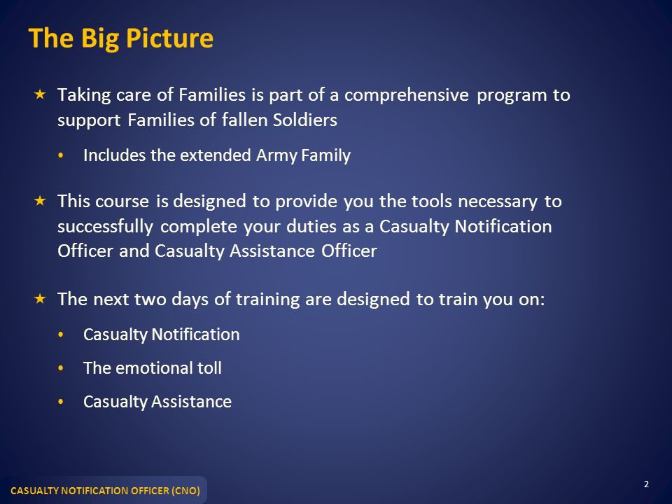 The Big Picture Taking care of Families is part of a comprehensive program to support Families of fallen Soldiers.