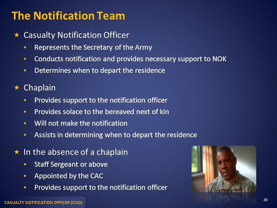 The Notification Team Casualty Notification Officer Chaplain