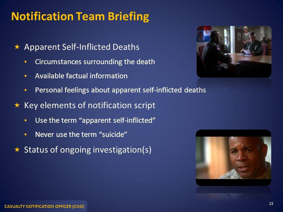 Notification Team Briefing