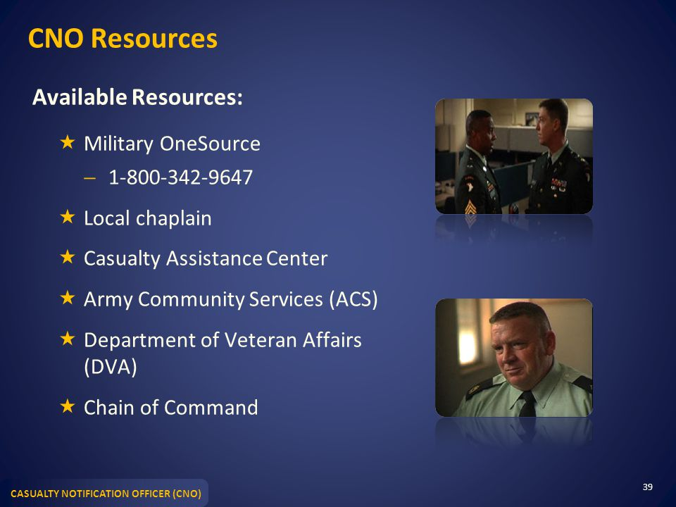 CNO Resources Available Resources: Military OneSource 1-800-342-9647