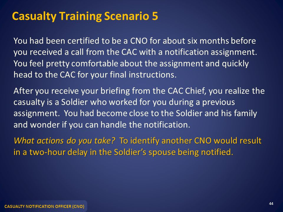 Casualty Training Scenario 5