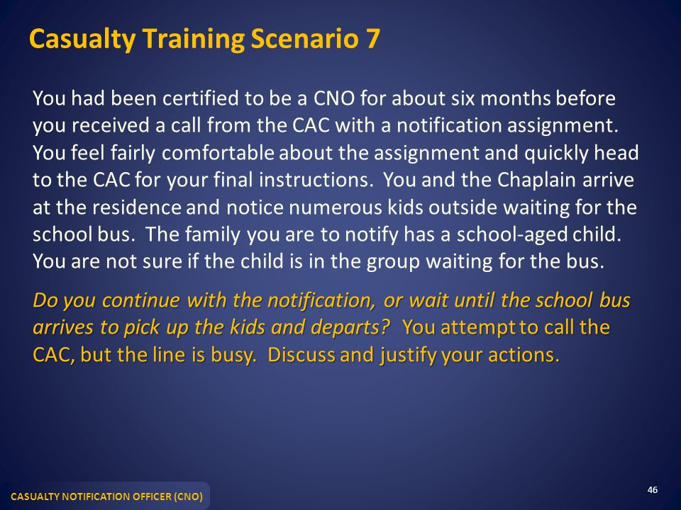 Casualty Training Scenario 7