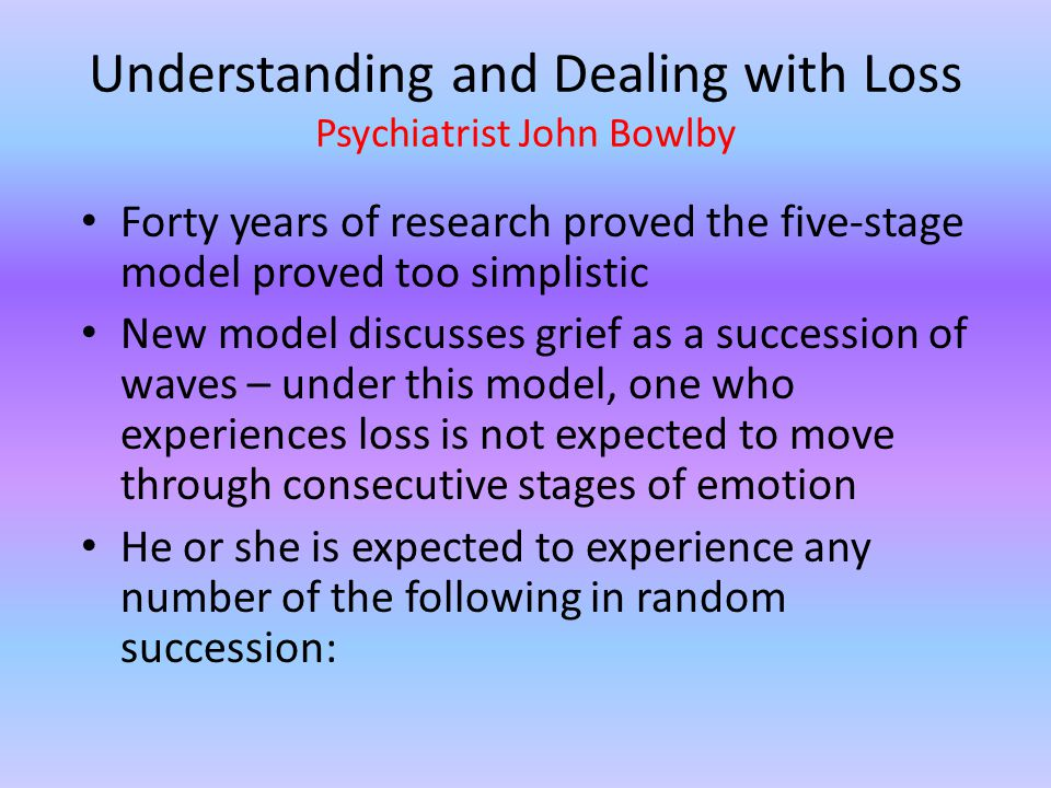 Understanding and Dealing with Loss Psychiatrist John Bowlby