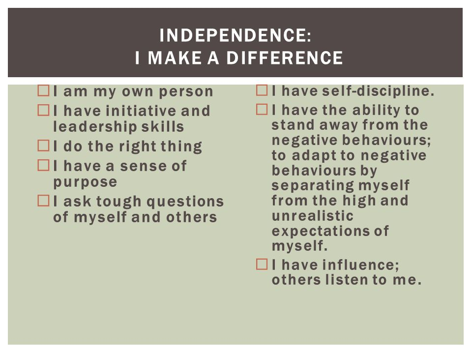 Independence: I Make a Difference