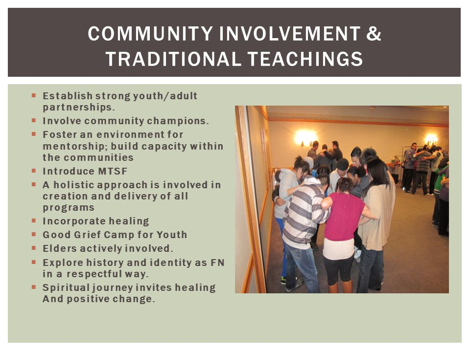 Community involvement & traditional teachings