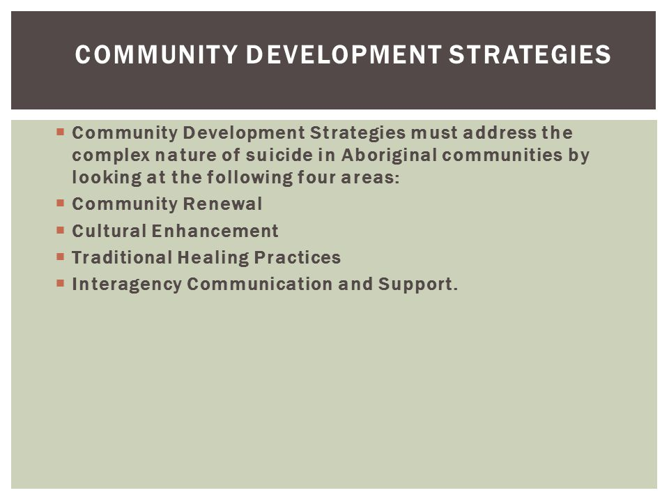 Community Development Strategies
