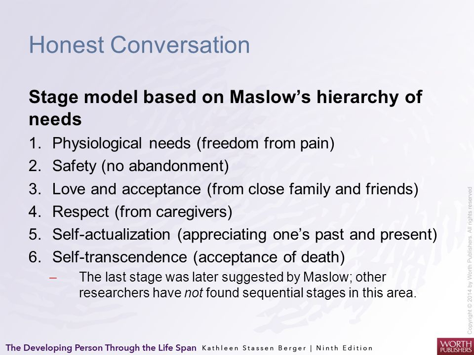 Honest Conversation Stage model based on Maslow's hierarchy of needs