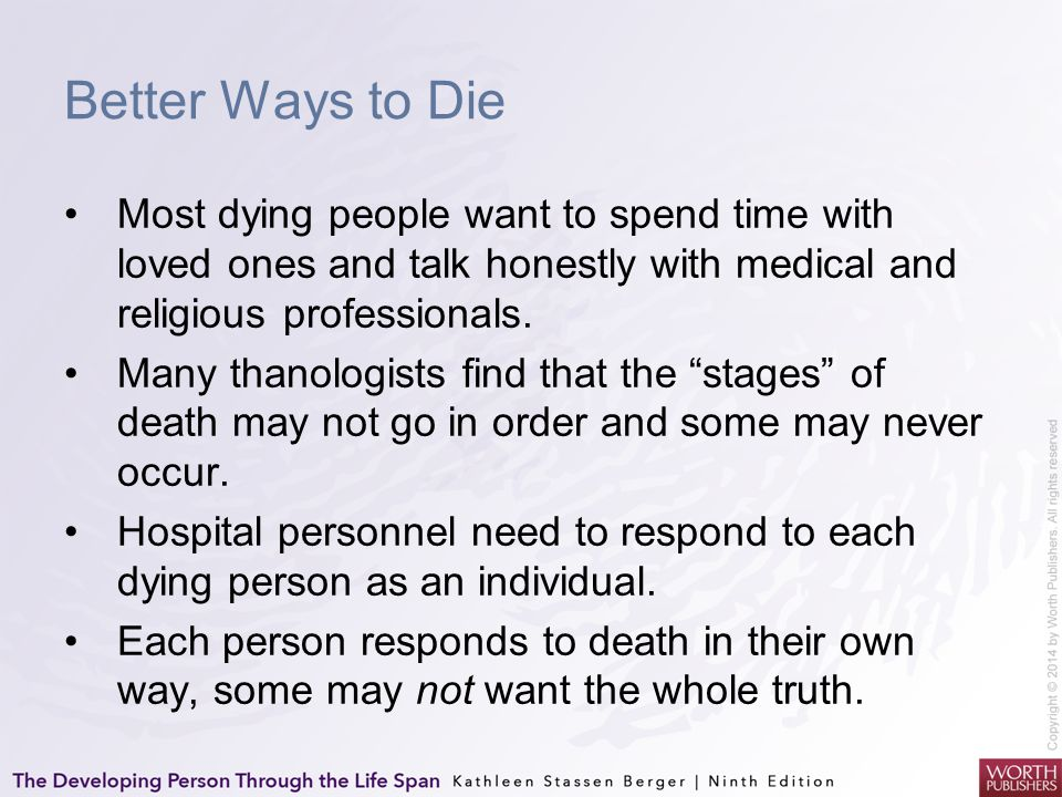 Better Ways to Die Most dying people want to spend time with loved ones and talk honestly with medical and religious professionals.