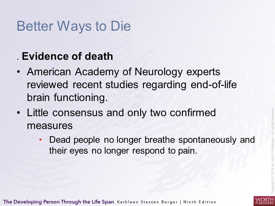 Better Ways to Die . Evidence of death. American Academy of Neurology experts reviewed recent studies regarding end-of-life brain functioning.