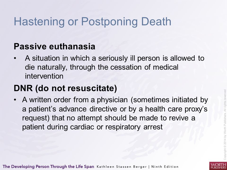 Hastening or Postponing Death
