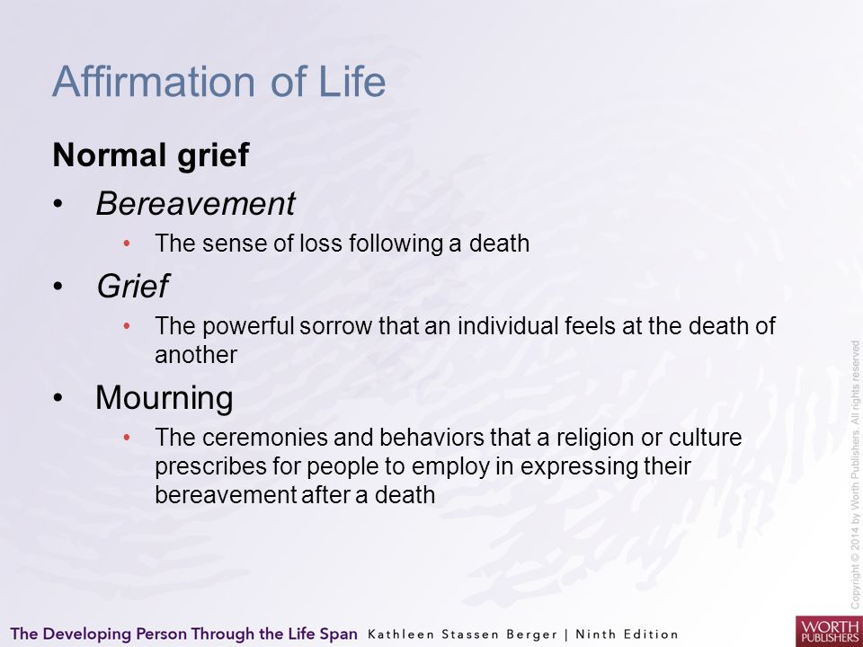 Affirmation of Life Normal grief Bereavement Grief Mourning