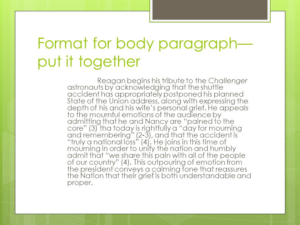 Format for body paragraph—put it together