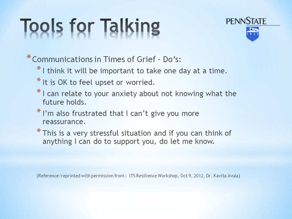 Tools for Talking Communications in Times of Grief - Do's: