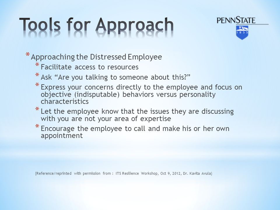 Tools for Approach Approaching the Distressed Employee