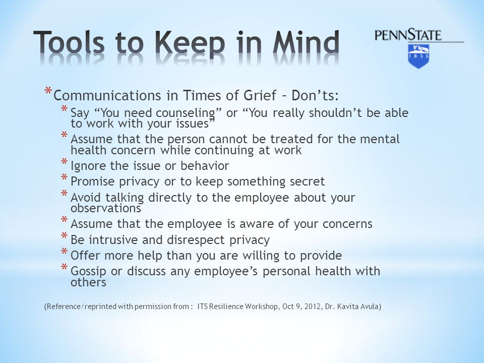 Tools to Keep in Mind Communications in Times of Grief – Don'ts: