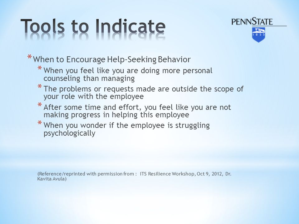 Tools to Indicate When to Encourage Help-Seeking Behavior