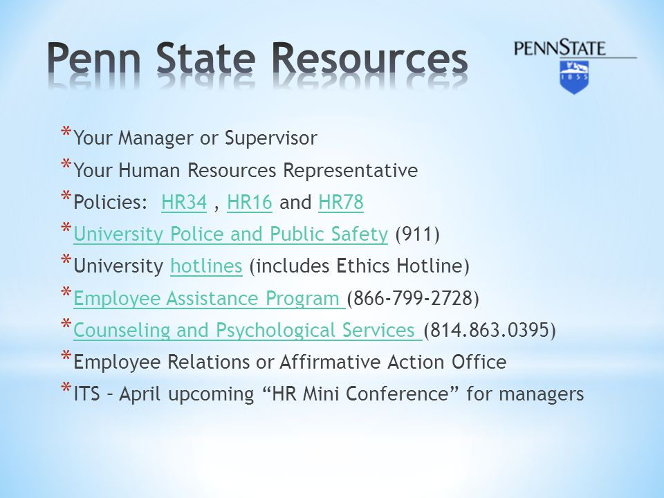 Penn State Resources Your Manager or Supervisor
