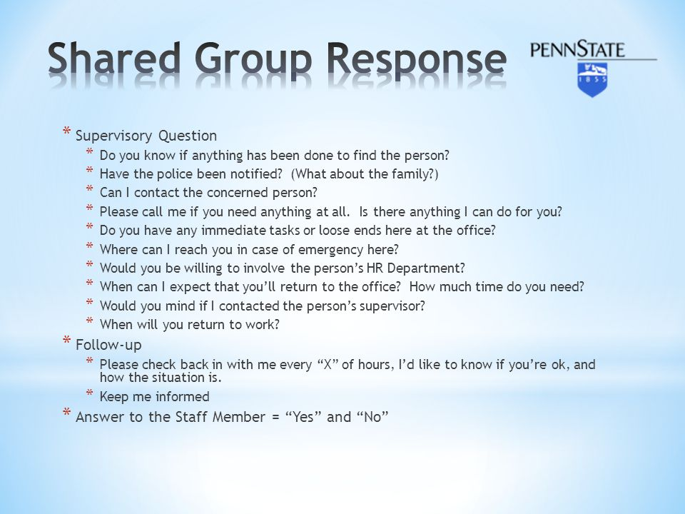 Shared Group Response Supervisory Question Follow-up