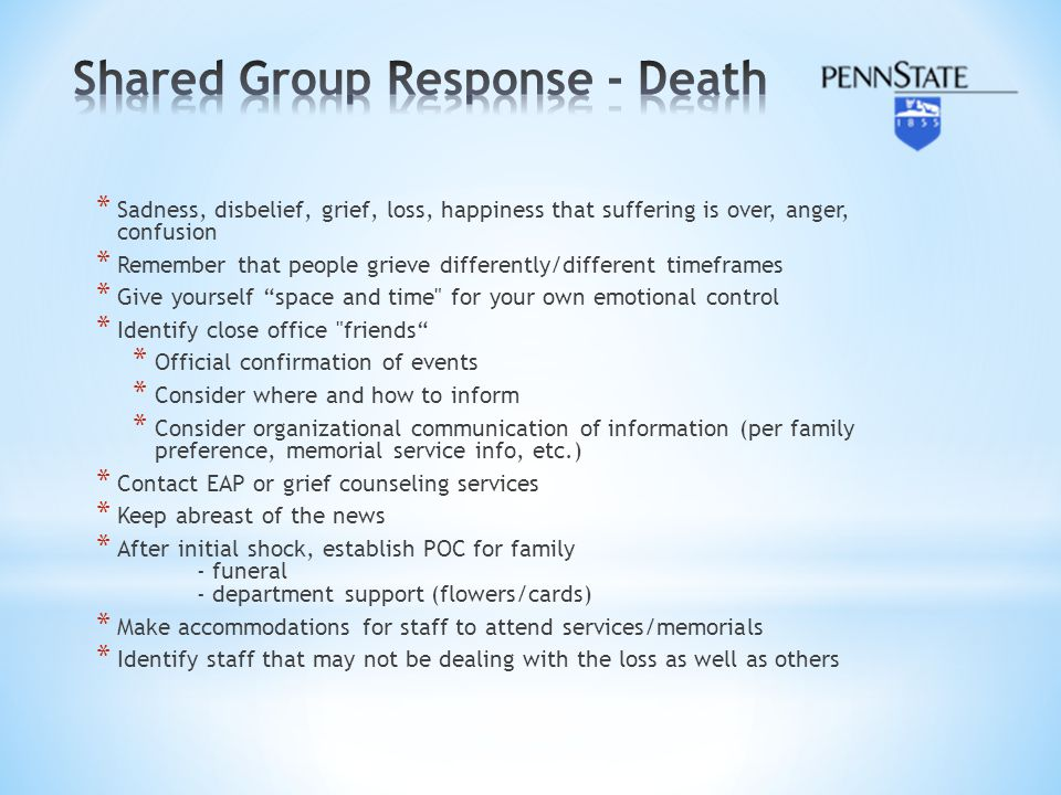 Shared Group Response - Death