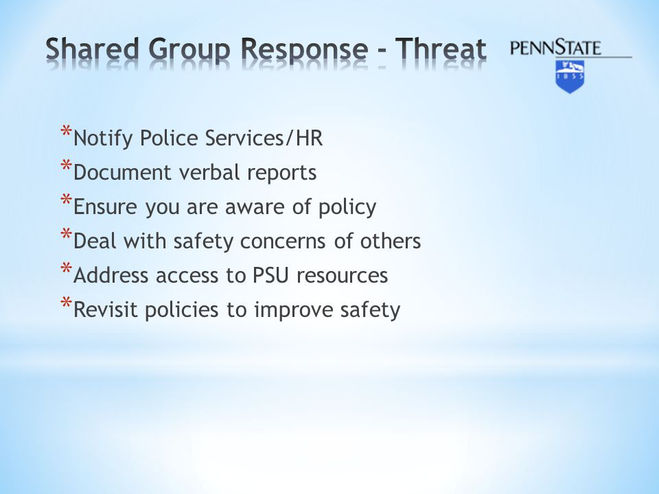 Shared Group Response - Threat