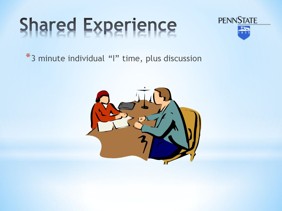 Shared Experience 3 minute individual I time, plus discussion