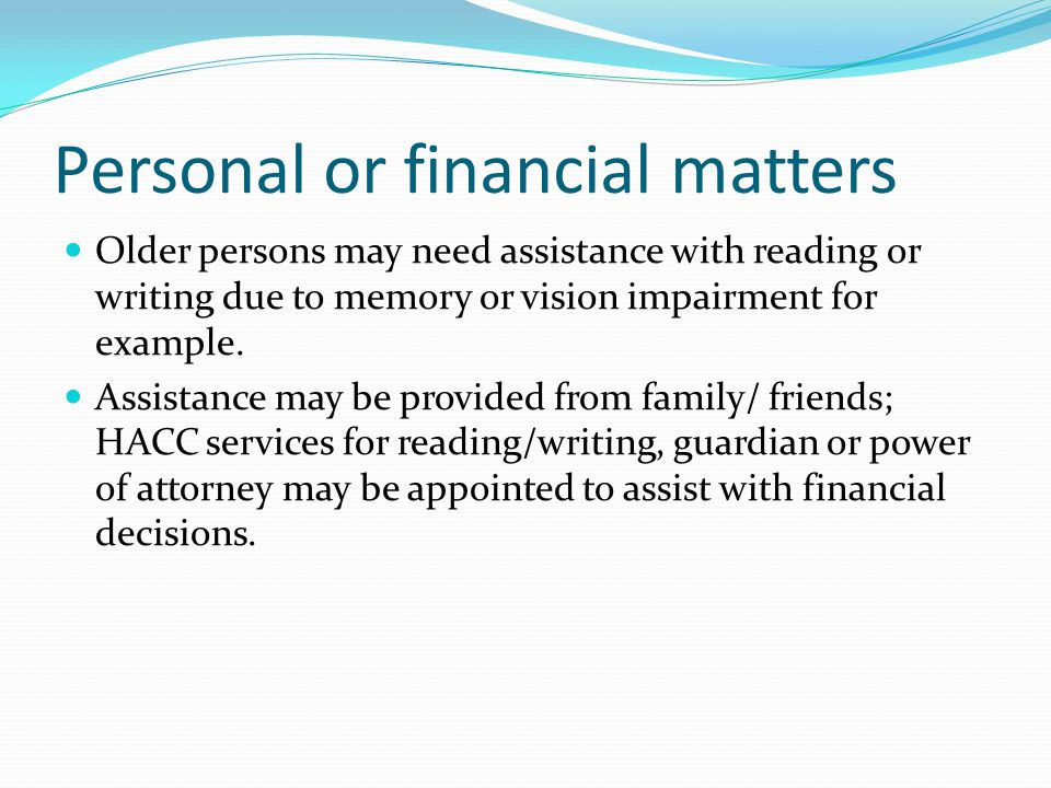 Personal or financial matters