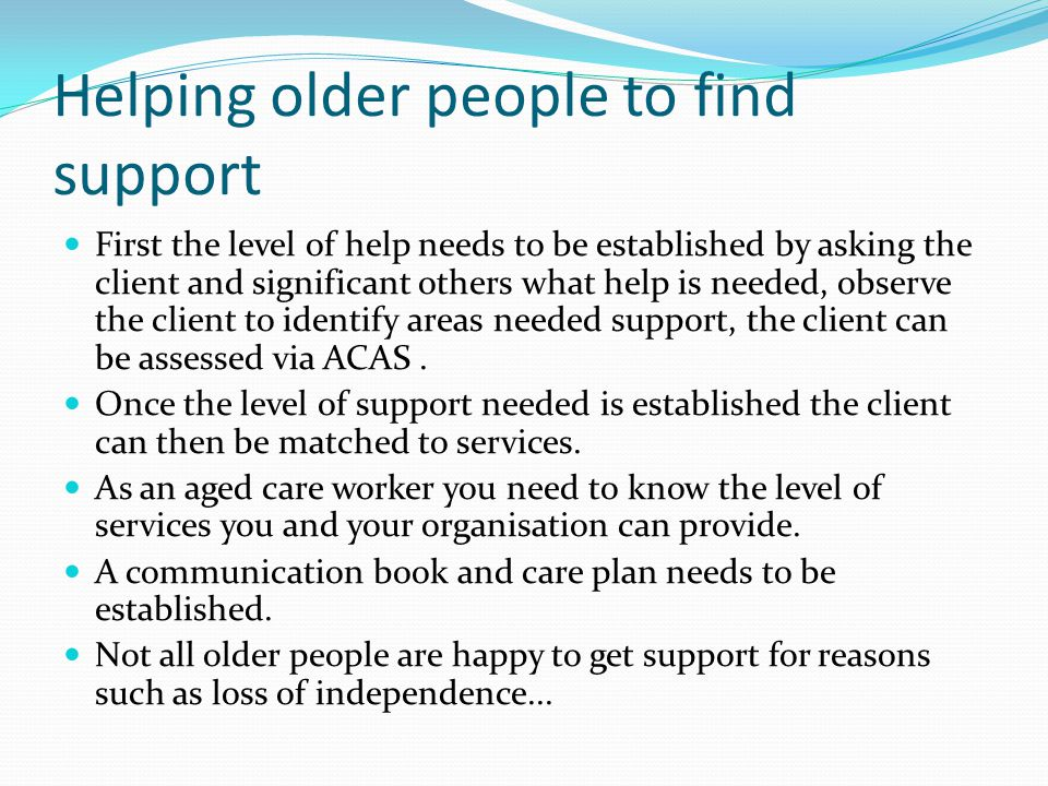 Helping older people to find support