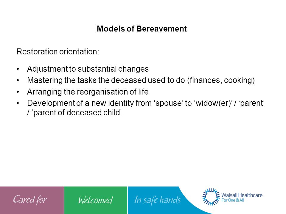 Models of Bereavement Restoration orientation: Adjustment to substantial changes. Mastering the tasks the deceased used to do (finances, cooking)