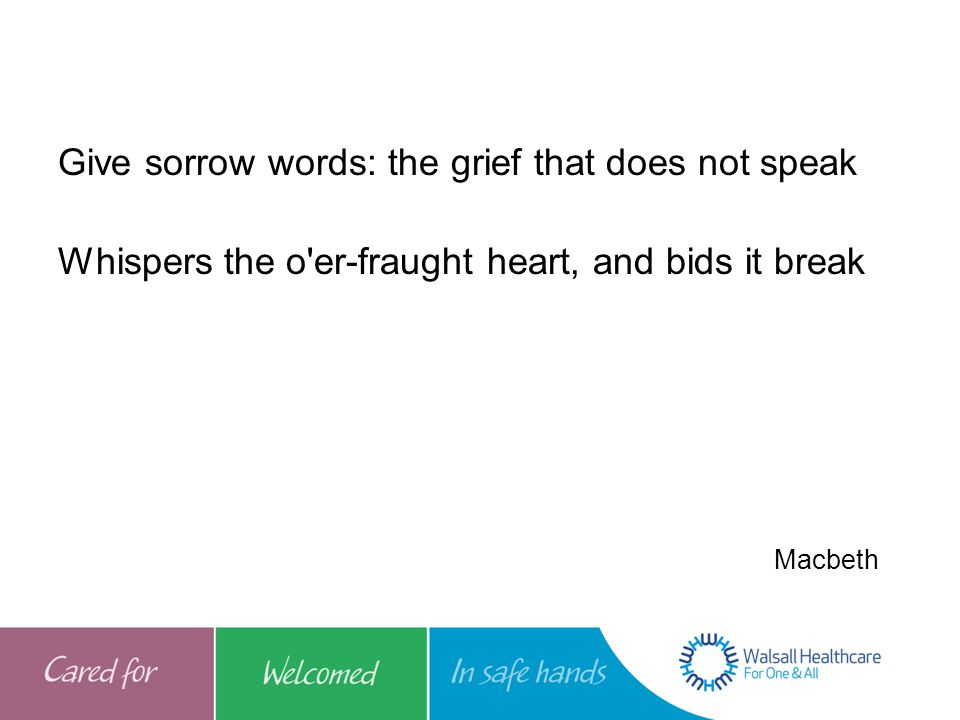 Give sorrow words: the grief that does not speak