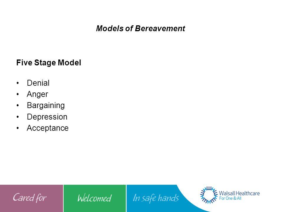 Models of Bereavement Five Stage Model Denial Anger Bargaining Depression Acceptance