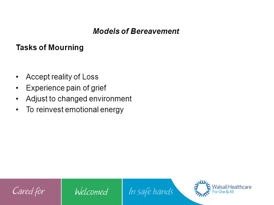 Models of Bereavement Tasks of Mourning. Accept reality of Loss. Experience pain of grief. Adjust to changed environment.