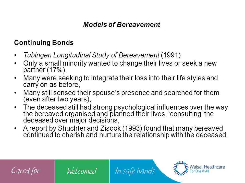 Models of Bereavement Continuing Bonds. Tubingen Longitudinal Study of Bereavement (1991)
